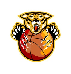 Tiger basketball ball claws vector