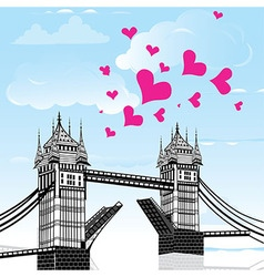 Tower Bridge with love heart as concept travel Lo vector image vector image
