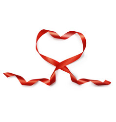 valentine day realistic heart from red silk ribbon vector image