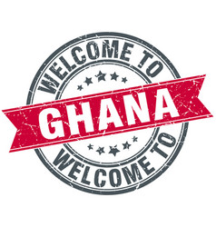 Welcome to ghana red round vintage stamp vector