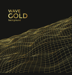 Wireframe gold wave vector