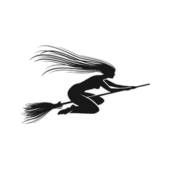 Witch on broomstick black silhouette vector