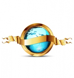 world with ribbon vector image vector image