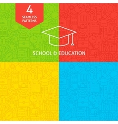 Line school and education tile patterns vector