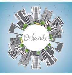 Orlando skyline with gray buildings vector