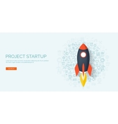 Flat rocket project start up space smart vector