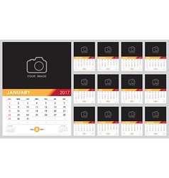 Calendar 2017 template design week starts from sun vector