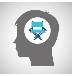 Director chair film silhouette head think movie vector