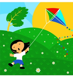 Good day and kite vector