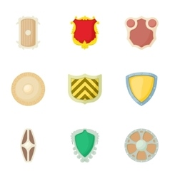 Army shield icons set cartoon style vector