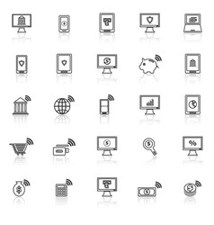 Online banking line icons with reflect on white vector