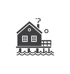 Fisherman stilt house icon vector
