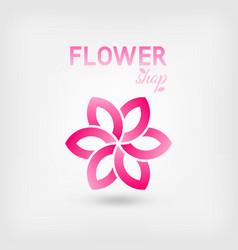 Flower shop logo design pink color vector