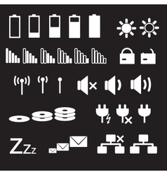 Laptop and pc indication status white icons eps10 vector