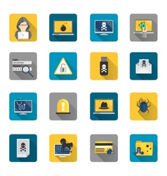 Hacker icons flat buttons vector