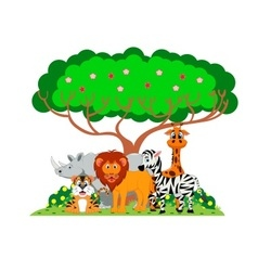Lion tiger zebra rhino and giraffe were playing vector image