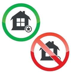 Favorite house permission signs set vector