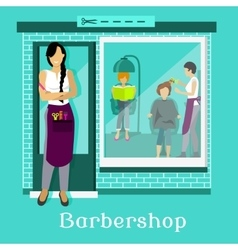 Barbershop facade with customers vector