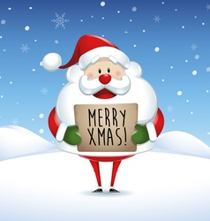 Santa Claus holding banner in Christmas vector image
