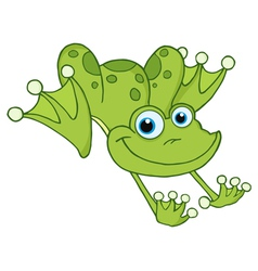 Leaping green frog vector