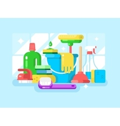 Cleaning tools and detergent vector