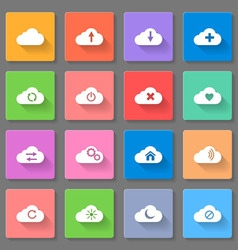 Set of flat cloud icons vector
