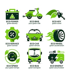 Flat icon set for green eco urban traffic vector