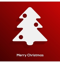 Abstract paper cut christmas tree with long shadow vector