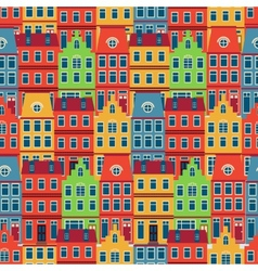 Amsterdam houses seamless pattern vector image