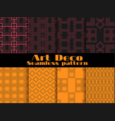 Art deco seamless patterns set retro backgrounds vector