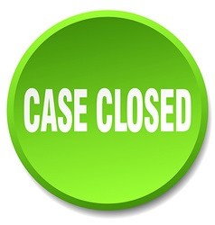 Case closed green round flat isolated push button vector