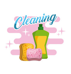 cleaning plastic bottle sponge products vector image