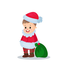 cute little boy in the costume of santa claus kid vector image vector image