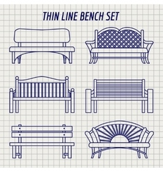 Garden bench set on notebook background vector image vector image