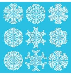 Geometric blue snowflakes vector image