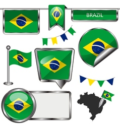 Glossy icons with brazilian flag vector
