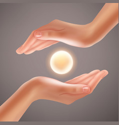 hands holding sphere vector image vector image