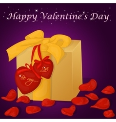 Happy valentine s day card with present hearts vector