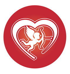 Heart love card with cupid angel vector