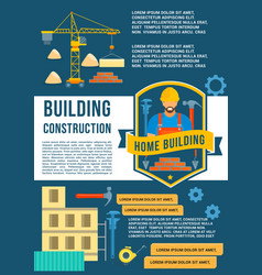 house construction and building poster vector image vector image