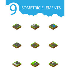Isometric road set of strip footpassenger plash vector