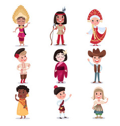 kids in national costumes of different countries vector image