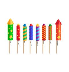 kinds of fireworks pyrotechnic set rockets vector image vector image