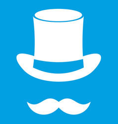 magic black hat and mustache icon white vector image