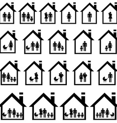 Pictograms of families in houses vector image