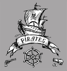 Pirate emblem or design element hand drawing vector