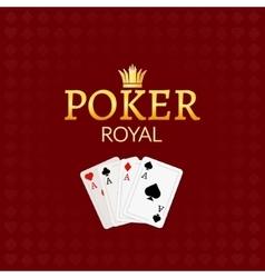 Poker casino poster logo template design Royal vector image