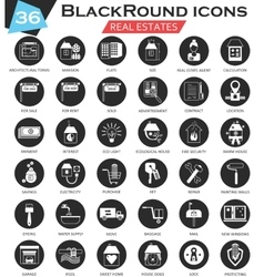Real estates circle white black icon set vector image vector image