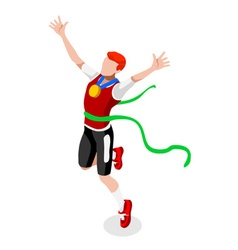 Running winning man 2016 sports isometric 3d vector