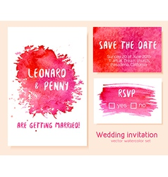 Set of hand drawn watercolor wedding invitation vector